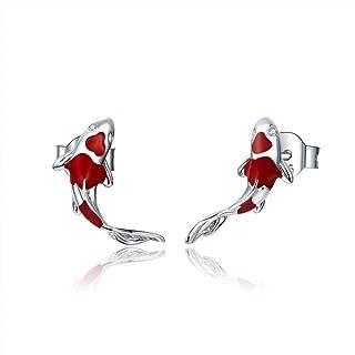 Qings Pendientes de botón de carpa roja de pez Koi para mujeres y niñas exquisita plata de ley 925 chapada en platino con ...