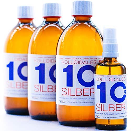 1600ml Argento colloidale - 3 bottiglie da 500 ml/10 ppm argento colloidale + spray (100 ml/10 ppm) - 99,99% puro Argento - migliore qualità - Made in Germany