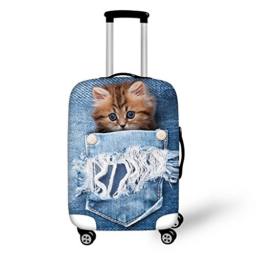 chaqlin Adroable Kitten Cat Spandex Luggage Cover Suitcase Protectors Machine Washable Fit 26-28 Inch Luggage