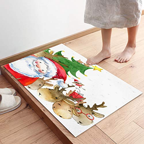 Absorbent Low-Profile Mats Bedroom Mat for Living Room Decoration Merrry Christmas Santa Claus and Reindeer Non Slip Welcome Doormat Entrance Rug Shoes Scraper for Front Door 31.5 x 20 Inch