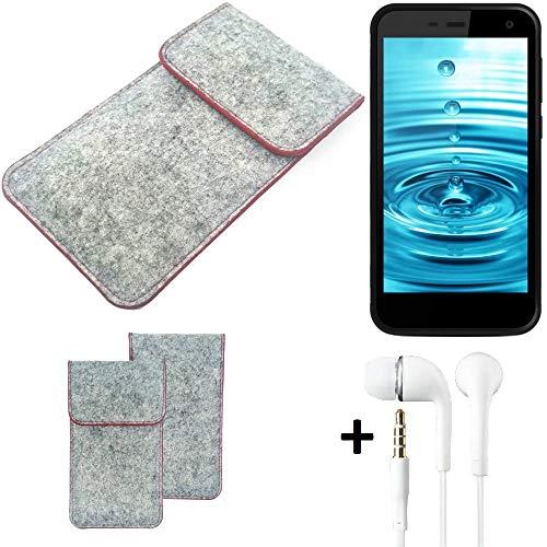 K-S-Trade® Handy Schutz Hülle Für Energizer H500S Schutzhülle Handyhülle Filztasche Pouch Tasche Case Sleeve Filzhülle Hellgrau Roter Rand + Kopfhörer