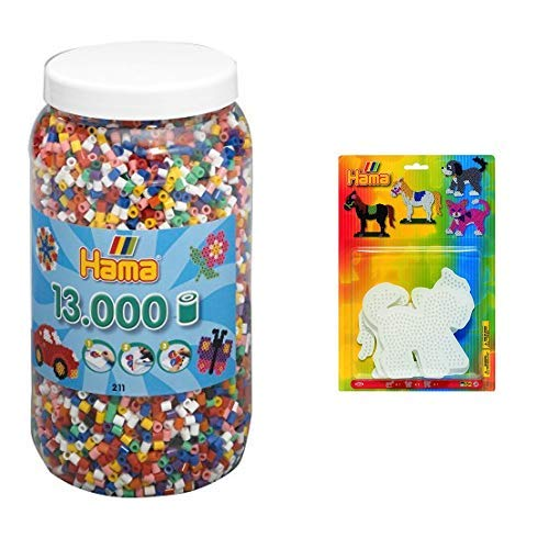 Hama 211-00 - Bügelperlen Dose mit ca. 13.000 Perlen, 10 Farben gemischt &  4556 - Blisterpackung große Stiftplatten, Pferd, Hund, Katze, 3 Stück