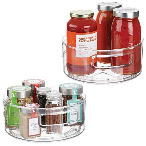 mDesign Set da 2 Organizer Cosmetici, lozioni e medicinali – Organizzatore Trucchi Girevole – Vassoio portaoggetti Rotondo per Bagno e Cucina in plastica priva di BPA e Acciaio – Trasparente