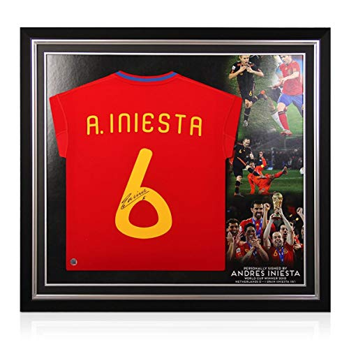 Andres Iniesta Signed 2009-10 Spain Home Soccer Jersey. Premium Frame | Autographed Memorabilia