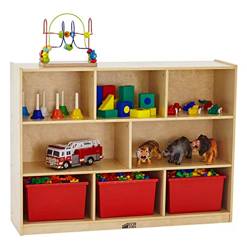 ECR4Kids Birch 8-Section School Classroom Storage Cabinet with Casters, Natural, 36' H