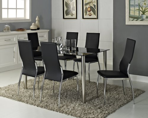 where to buy Black Glass Rectangle 6 Seater Dining Table Set with 6 ...