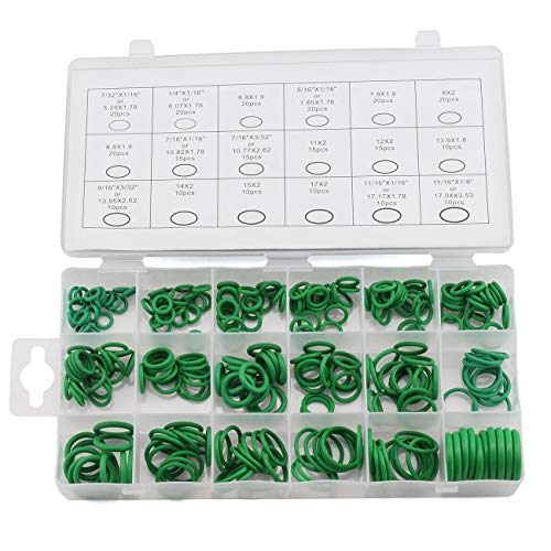 ZYAMY 270pcs Green Rubber O-Ring Gaskets 18 Sizes Sealing O Ring Assorted Kit Washer Assortment
