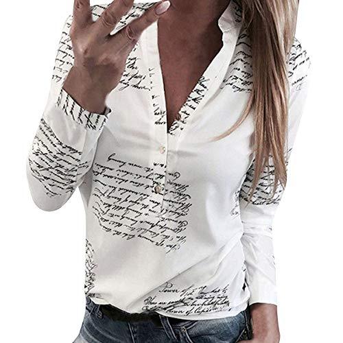 SHOBDW Mujeres V Cuello Blusa Pura Atractiva Grandes Suaves OL Ladies Sueltas Camisas de Bolsillo Tallas Tops Camisa de Manga Larga (M, Blanco-3)