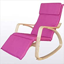 High-quality recliner Solid Wood Lazy Rocking Chair Leisure Chair Recliner Sofa Chair Old Man Nap Chair (Color : Pink)