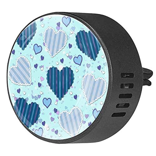 BestIdeas 2 clips de ventilación ambientador de coche con diseño de corazones azules lindo, difusor de aceites esenciales de aromaterapia