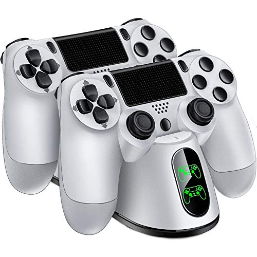 PS4 Controller Charger for Playstation 4 / PS4 / PS4 Pro / PS4 Slim Controller, Dual PS4 Controller Charger Station, Charger for PS4 Wireless Controller (White W02)