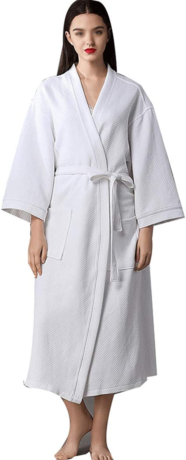 HONGLIAN White Bathrobe Men and Women Cotton Gown Absorbent Couple Bathrobe Hotel Beauty Salon Hot Spring Loose Large Size Pajamas HONGLIAN (color   White, Size   50130KG)