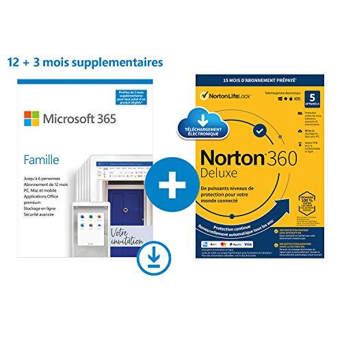 Microsoft 365 Famille | Office 365 apps | PC/Mac/Tablet/Phone | multilingual | 6 personnes | 15 Mois + NORTON 360 Deluxe | 15 Mois | PC/Mac | Code d'activation - envoi par email
