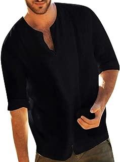 Mens Casual Slim Fit Basic Henley 3/4 Sleeve Fashion Shirt Lightweight V Neck T Shirts Tops