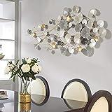 WSND 3D Modern Stil Wanddeko Metall, luxuriös Metall Wandschmuck, Wandobjekt Blätter, Wanddekoration Gold Antikoptik, 134 * 65cm
