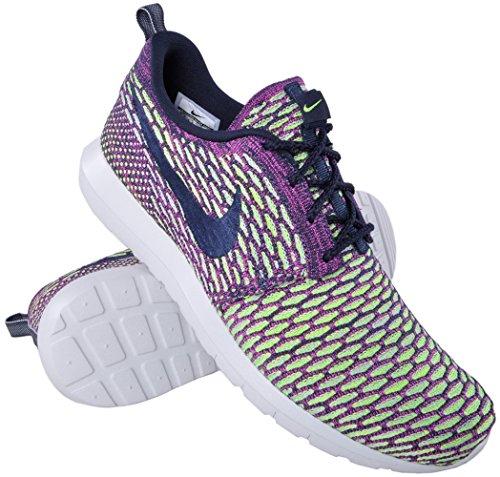 Nike Mens Flynit Roshe Run Dark Obsidian / Fuschia Flash Fabric Size 10 Running, Cross Trainers