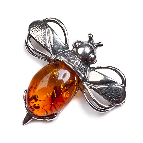HENRYKA Women Silver Decorative Pin, Silver Coat Brooch, Pins for Men and Women, Bumble Bee Bumblebee Brooch, Silver and Cognac Amber Brooch
