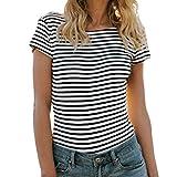 MORCHAN Womens Short Sleeveve Stripe Print Ladies Tops Filles Mot Loose Blouse T-Shirt