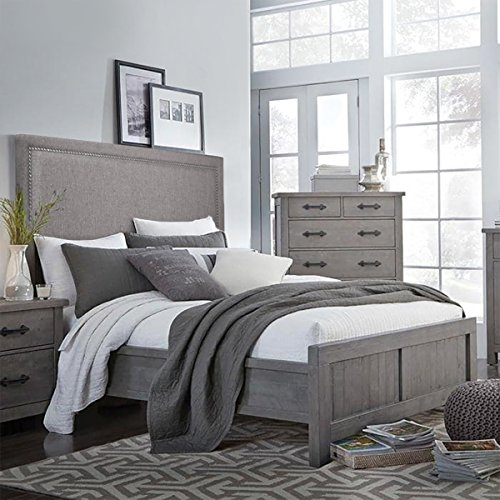 Barton Elegant Linen Fabric Upholstered for Queen/Full Headboard with Nailhead Trim Adjustable Height, Chocolate Grey