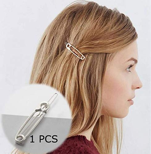 DioLm Haarspange Für Frauen Schere Runde Mondblatt Einhorn Herz Einfache Goldene Silber Mädchen Mode Geschenk Charme, Silber