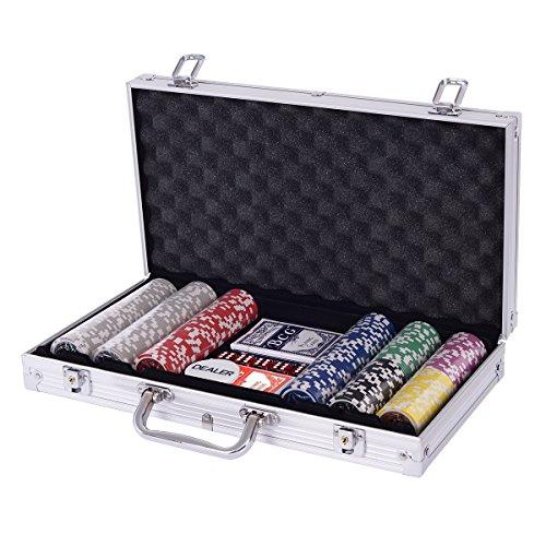 Costway ポーカーチップ チップ 300枚 ポーカーセット カジノチップ トランプ付き シルバー