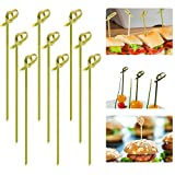 Cosweet 500 Pcs Bamboo Knot Cocktail Skewers Picks, 5 Inches, Great for Hors' D'oeuvre, Appetizers, Cocktail Party or Barbeque Snacks, Club Sandwiches