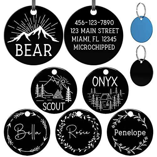 PetTagsPlus Stainless Steel Dog Tags Engraved for Pets - Cat Tags Personalized Engraved - Custom Name Tags for Dogs, Cats, Pet ID - Two Sided Option - Heavy Duty - Small, Medium, Large (SM, Black)