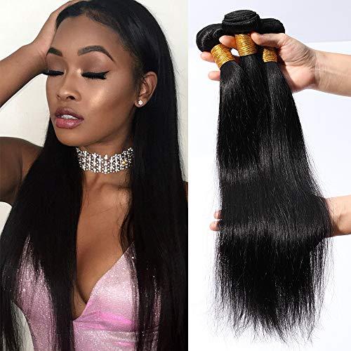 """Tissage Bresilien en Lot de 3 Meches Bresiliennes Lisse Extensions Cheveux Naturel #1B Noir Naturel 100g 3 Bundles - 26""""28""""30"""""""