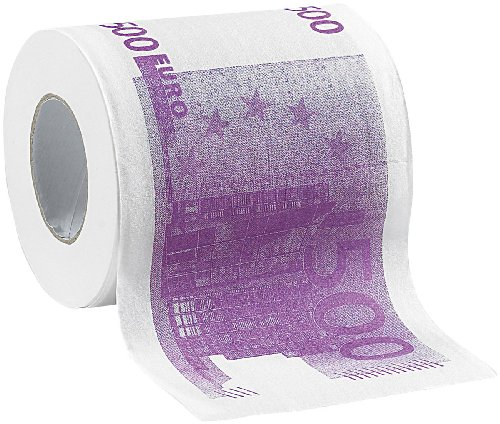 infactory WC Papier: Toilettenpapier mit aufgedruckten 500-Euro-Noten, 2-lagig, 200 Blatt (Geschenk-Toilettenpapier)