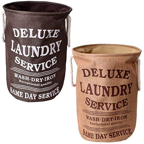 teprovo 2 Stück Ring Deluxe Laundry Wäschesack Schmutzwäschesammler Aufbewahrung Korb Metallring 50l Canvas Leinenoptik braun beige
