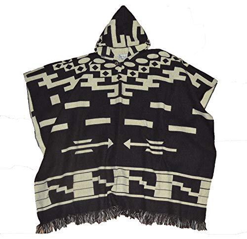 Wigwam Elegante poncho con capucha hecho a mano estilo mexicano (marrón)
