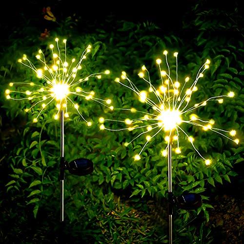 munloo Solar Feuerwerk Licht, 2 Stück Solarleuchten Garten Deko, für Patio Rasen Außen Balkon Weihnachtsfest-Dekor (Warmweiß)