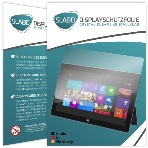 Slabo 2 x Bildschirmschutzfolie Microsoft Surface Windows RT Bildschirmschutz Schutzfolie Folie Crystal Clear unsichtbar Made IN Germany