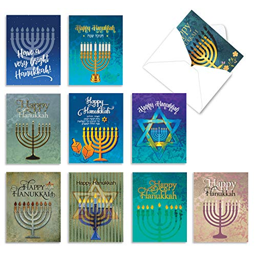 The Best Card Company - 10 Hanukkah Thank You Note Cards with Envelopes (4 x 5.12 Inch) - Religious Jewish Holiday, Boxed Notecard Assortment - Hanukkah Lights AM6140HYG-B1x10