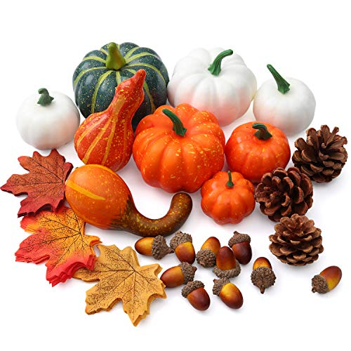 Mocoosy künstliche Kürbisse für Halloween-Dekorationen, Mini gefälschte gelbe und weiße Erntekürbisse mit Ahornblättern Tannenzapfen Eicheln fallen Thanksgiving-Hausgarten-Dekor