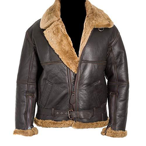 UGFashions Men's RAF B3 Shearling Aviator Pilot Ginger Sheepskin Brown Fur Bomber Leather Jacket, Large