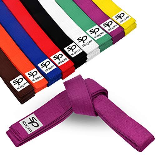Starpro Cinturones de Karate Artes Marciales - MMA Gear Judo Taekwondo Bjj Jiu Jitsu Diseño Duradero y Liviano | Cinturón Clasificación 9 Colores Algodón 100% Grueso Siete Costuras | 240cm 280cm 320cm