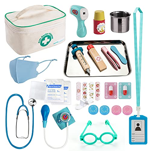 EFOSHM Kids Doctor kit 27 Piece, Toys Medical Kit with Stethoscope, Stainsteel Tray and Iodine Cup Role Doctor playset with Signable Washable Medical Bag for Boys Girls-Ages 3+
