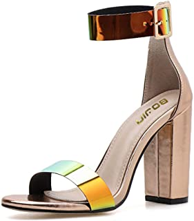 Women's High Heels Sandals for Women Ankle Strap Block Clear Heels with Open Toe