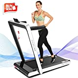ANCHEER 2 in1 Folding Treadmill, 2.25HP Under Desk Electric Treadmill with Remote Control and Bluetooth Speaker & LCD Monitor, Installation-Free,Exercise Fitness Machine for Home/Office Use (Purple)