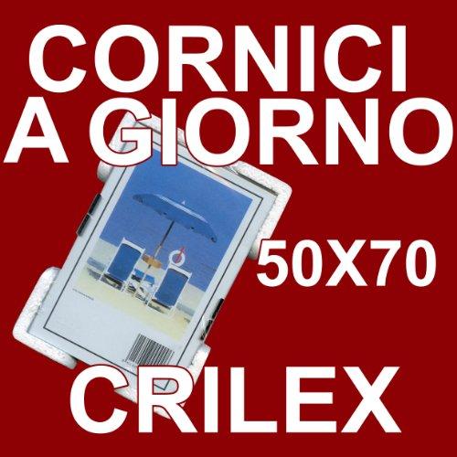 3 Cornici a Giorno 50x70 in Crilex Antinfortunistico, Ultra- Trasparente e Leggero - Cornice in Crilex 50x70 - Pacco da 3 Pz.