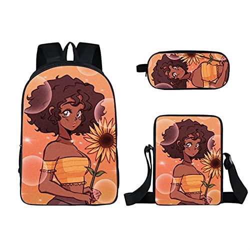 Kinderrucksack - schönes Mädchen 3d gedruckt Schultasche Set Set Nette Kinder Rucksack und beleidigte Lunchbox Pen Fall Multifunktions 3 in 1 (Color : 06)