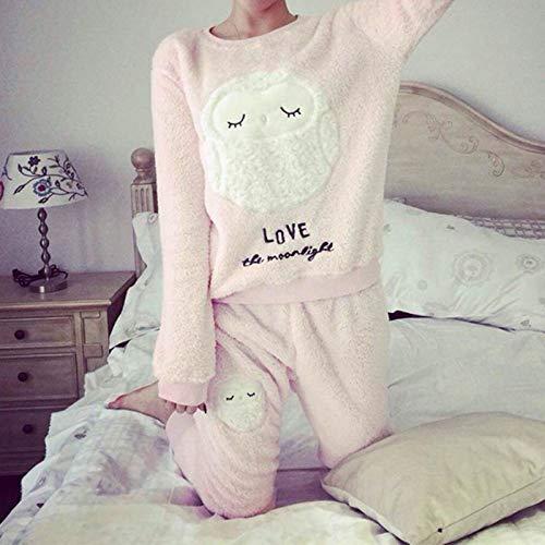 WJFGGXHK Schlafanzüge Für Damen,Winterpyjama Der Frau Niedlicher Cartoon Flanell Nachtwäsche Set Samt Warmer Pyjama Rundhalsausschnitt Homewear Langarm Tops Hosen Mädchen Pyjama Set Pink, M.