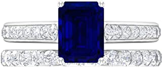 Anillo solitario de corte octogonal de 6 x 8 mm, D-VSSI Moissanita Eternity, anillo de boda, oro blanco de 14 quilates