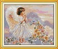 LovetheFamily クロスステッチキット DIY 手作り刺繍キット 正確な図柄印刷クロスステッチ 家庭刺繍装飾品 11CT ( インチ当たり11個の小さな格子)中程度の格子 刺しゅうキット フレームがない - 51×43 cm 小さな天使の祈り