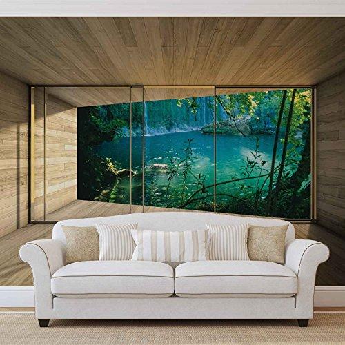 Venster, bos, meer, water, natuur, Forwand, fotobehang, behang, foto, muurafbeelding, 3294WM), XL, 208 cm x 146 cm, VLIES (EasyInstall) - 2 stuks