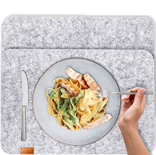 Miqio® - Design Tischset aus Filz | Marken Label aus echtem Leder | 2er Set Platzset (grau meliert) abwaschbar | Filzmatte Tisch Untersetzer Platzdeckchen abwischbar