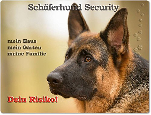 Merchandise for Fans Warnschild - Schild aus Aluminium 20x30cm - Motiv: Schäferhund Security (03)