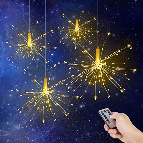 LED Feuerwerk Lichterketten, ALED LIGHT 120 LED Warmweiß Feuerwerk Licht Batteriebetrieben 8 Modi Wasserdichte Outdoor LED Lichterkette mit Fernbedienung, für Garten Weihnachten Dekorationen (4 Pack)