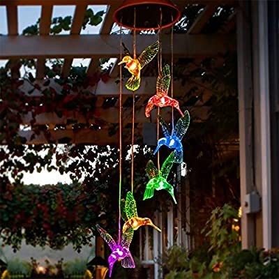 Solpex Solar Hummingbird Wind Chimes, Solar-Powered Mobile Hanging Patio Lights with 6 Vivid Hummingbirds?Multi-Color Changing LED Garden Decoration As Gift for Family and Friends